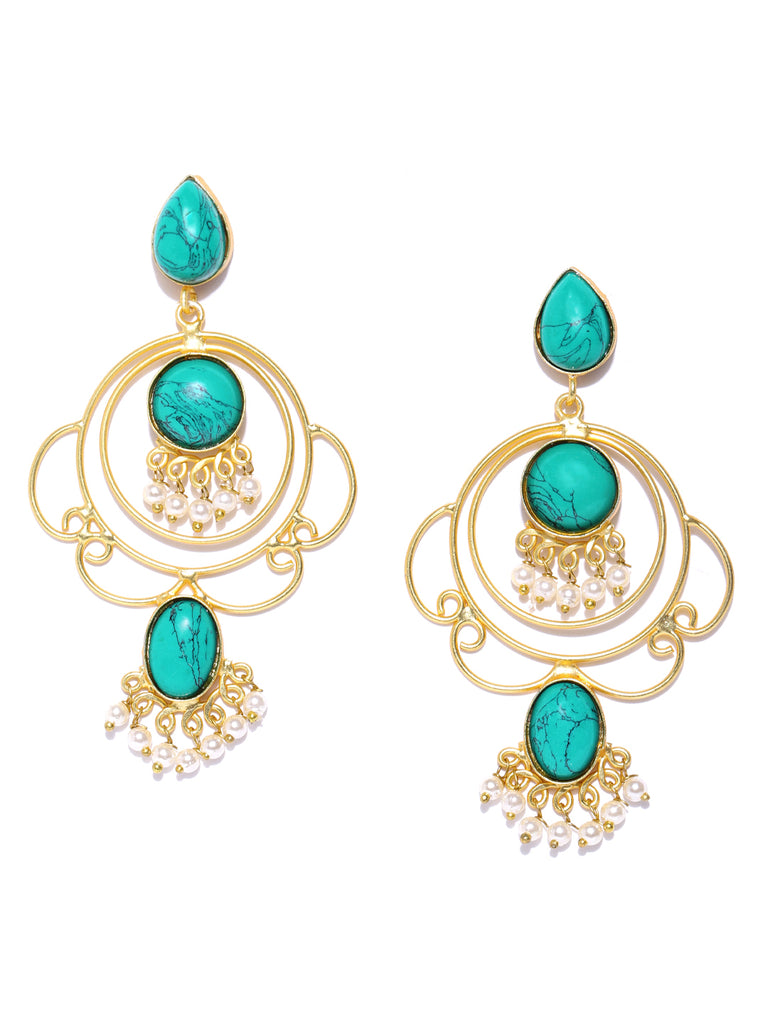 Infuzze Turquoise Blue Gold-Plated Stone-Studded Geometric Handcrafted Drop Earrings - PR0088