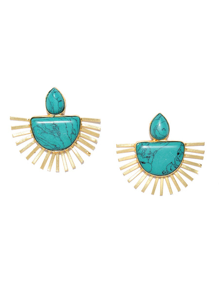 Infuzze Turquoise Blue Gold-Plated Handcrafted Stone-Studded Geometric Drop Earrings - PR0089