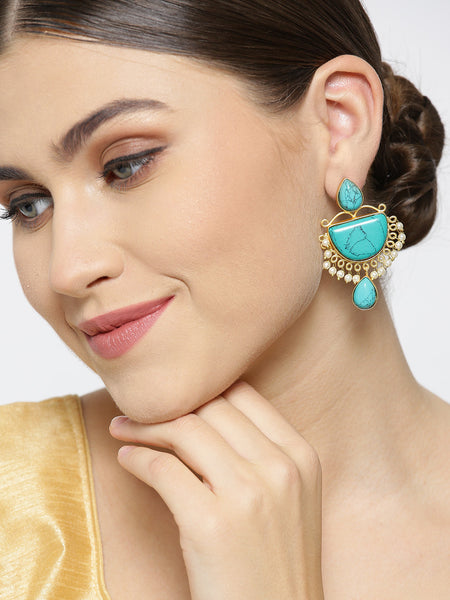 Infuzze Turquoise Blue Gold-Plated Handcrafted Stone Studded Beaded Drop Earrings - PR0092