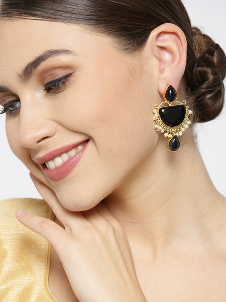 Infuzze Black Gold-Plated Stone-Studded Geometric Handcrafted Drop Earrings - PR0093