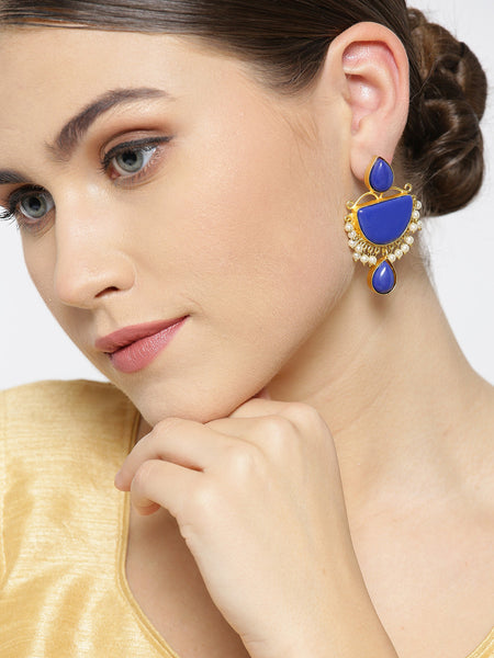 Infuzze Blue Gold-Plated Stone-Studded Geometric Handcrafted Drop Earrings - PR0094