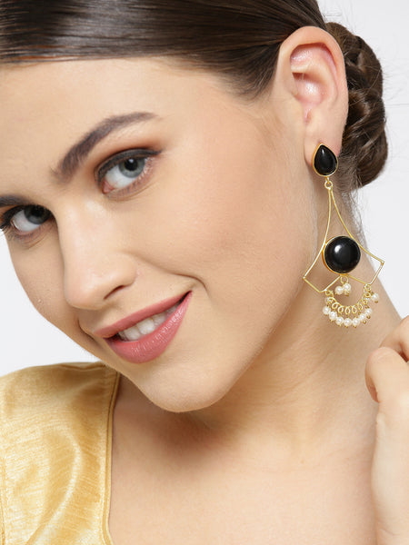 Infuzze Black Gold-Plated Stone-Studded Geometric Handcrafted Drop Earrings - PR0096