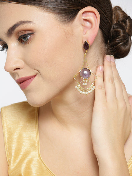 Infuzze Purple Gold-Plated Stone-Studded Geometric Handcrafted Drop Earrings - PR0097
