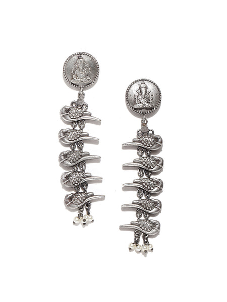 Infuzze Oxidised Silver-Plated Beaded Ganesha Textured Classic Drop Earrings - PR0099