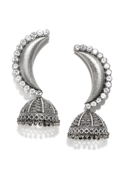 Infuzze Silver-Plated Oxidized Crescent Shaped Stone Studded Jhumkas - PR0104