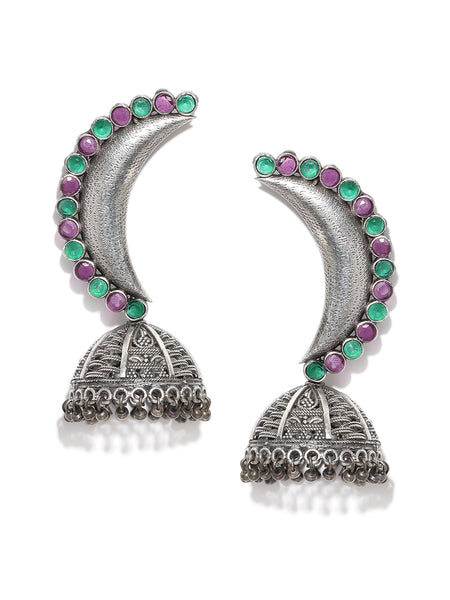 Infuzze Green & Silver-Toned Stone Studded Oxidised Crescent Shaped Jhumkas - PR0105
