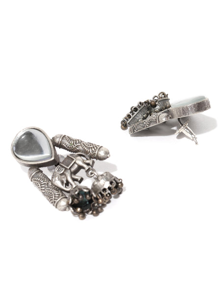 Infuzze oxidised Silver-plated Stone Studded Textured Classic Drop Earrings - PR0106