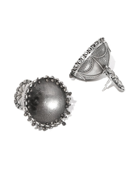 Infuzze Silver-Plated Oxidised Dome Shaped Jhumkas - PR0107