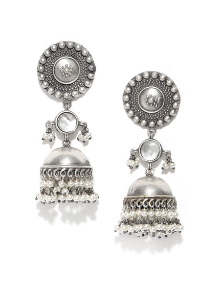 Infuzze Silver-Plated Oxidized Dome Shaped Stone Studded & Beaded Jhumkas - PR0108