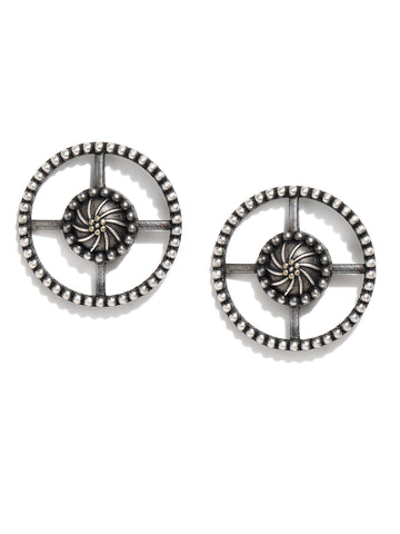 Silver-Toned Oxidised Circular Studs