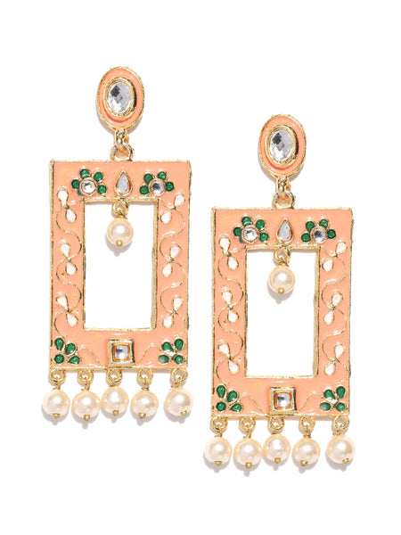 Infuzze Peach-Coloured & Off-White Gold-Plated Beaded Meenakari Geometric Drop Earrings - PR0115