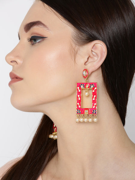 Infuzze Pink & Off-White Gold-Plated Meenakari Beaded Geometric Drop Earrings - PR0116