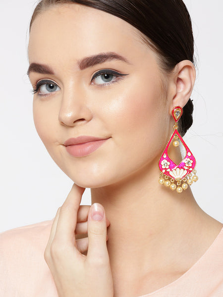 Infuzze Pink & White Gold-Plated Meenakari Teardrop Shaped Drop Beaded Earrings - PR0118
