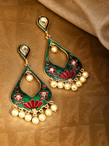 Green & Red Gold-Plated Meenakari Beaded Classic Drop Earrings