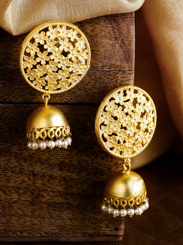 Gold-Plated Handcrafted Dome Shaped Beaded Jhumkas