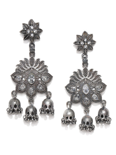 Infuzze Oxidised Silver-Plated Stone Studded Handcrafted Floral Drop Earrings - PR0122