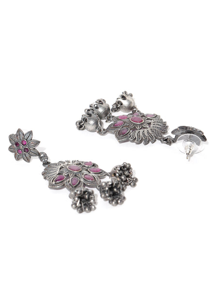Infuzze Magenta & Silver-Toned Oxidised Handcarfted Floral Drop Earrings - PR0123