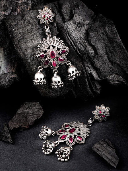 Magenta & Silver-Toned Oxidised Handcarfted Floral Drop Earrings