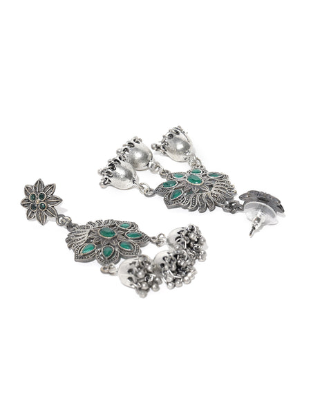 Infuzze Green & Silver-Plated Handcrafted Oxidised Floral Drop Stone Studded Earrings - PR0124