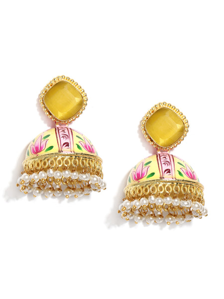 Infuzze Yellow & Pink Gold-Plated Hand-Painted Dome Shaped Jhumkas - PR0126