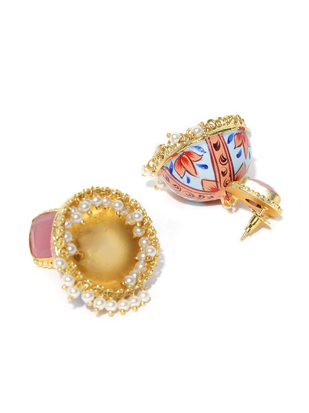 Infuzze Blue & Peach-Coloured Gold-Plated & Hand Painted Dome Shaped Beaded Jhumkas - PR0127