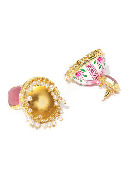 Infuzze Pink & White Gold-Plated Stone Studded Hand Painted Dome Shaped Jhumkas - PR0128