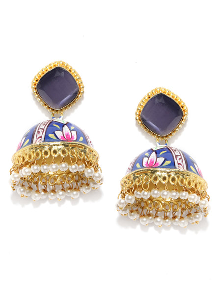 Infuzze Navy Blue & Pink Gold-Plated & Hand Painted Dome Shaped Beaded Jhumkas - PR0130