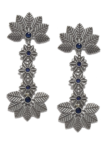 Infuzze Navy Blue & Silver-Toned Oxidised Handcrafted Leaf Shaped Drop Earrings - PR0132