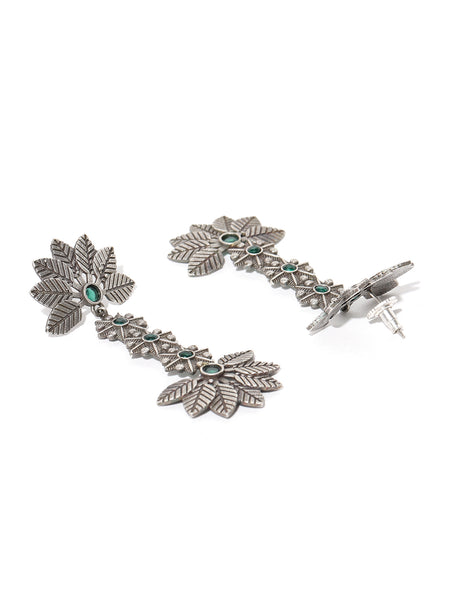 Infuzze Green & Silver-Plated Handcrafted Floral Drop Stone Studded Earrings - PR0133