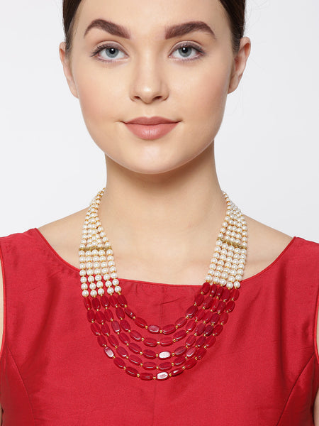 Infuzze Red & Off-White Gold-Plated Beaded Layered Necklace - PR0136