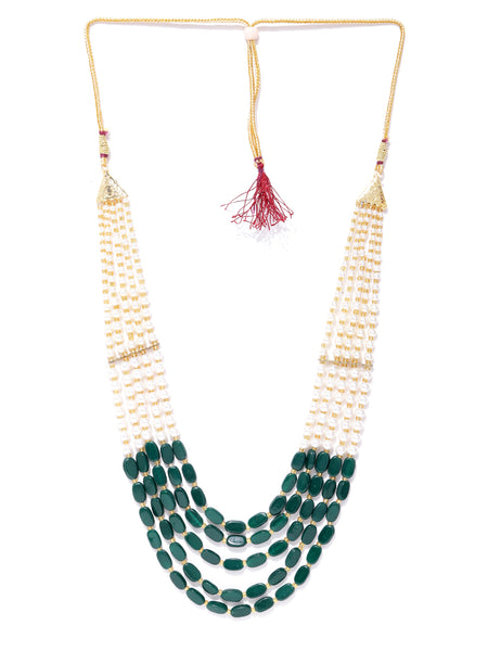 Infuzze Green & Off-White Gold-Plated Beaded Layered Necklace - PR0137