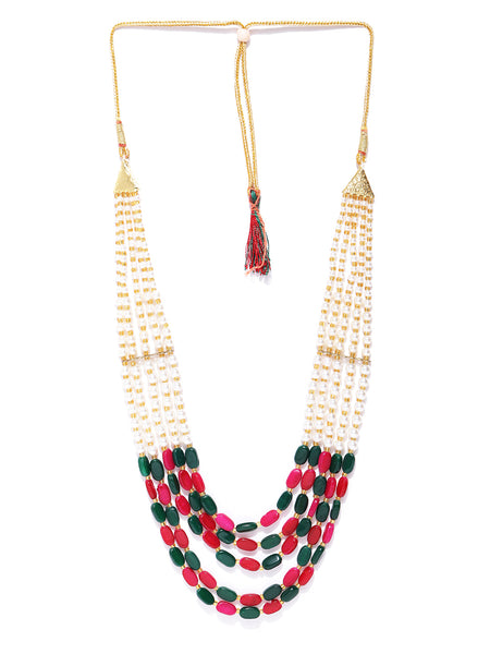 Infuzze Pink & Green Gold-Plated Beaded Layered Necklace - PR0138