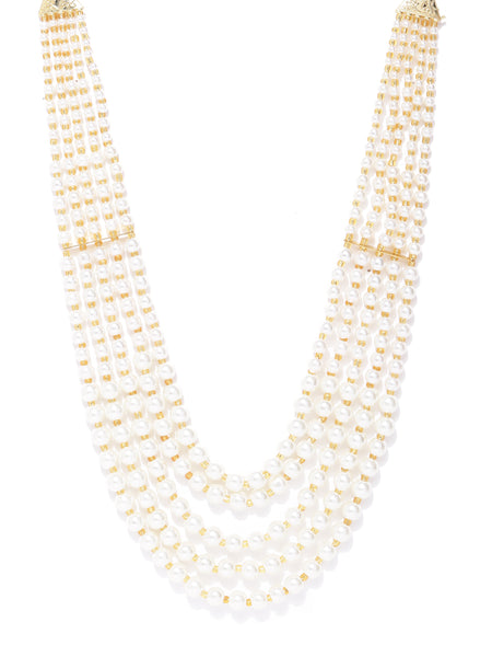 Infuzze Off-White Gold-Plated Beaded Layered Necklace - PR0139