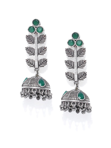 Infuzze Green Oxidised Silver-Plated Textured Dome Shaped Jhumkas - PR0141