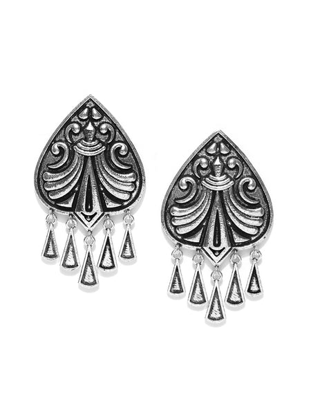 Infuzze Oxidised Silver-Plated Classic Drop Earrings - PR0143