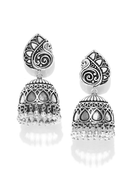 Infuzze Oxidised Silver-Plated Dome Shaped Jhumkas - PR0146