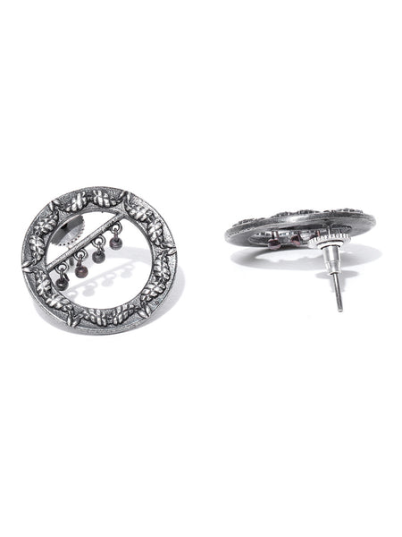 Infuzze Oxidised Silver-Plated Circular Oversized Studs - PR0154