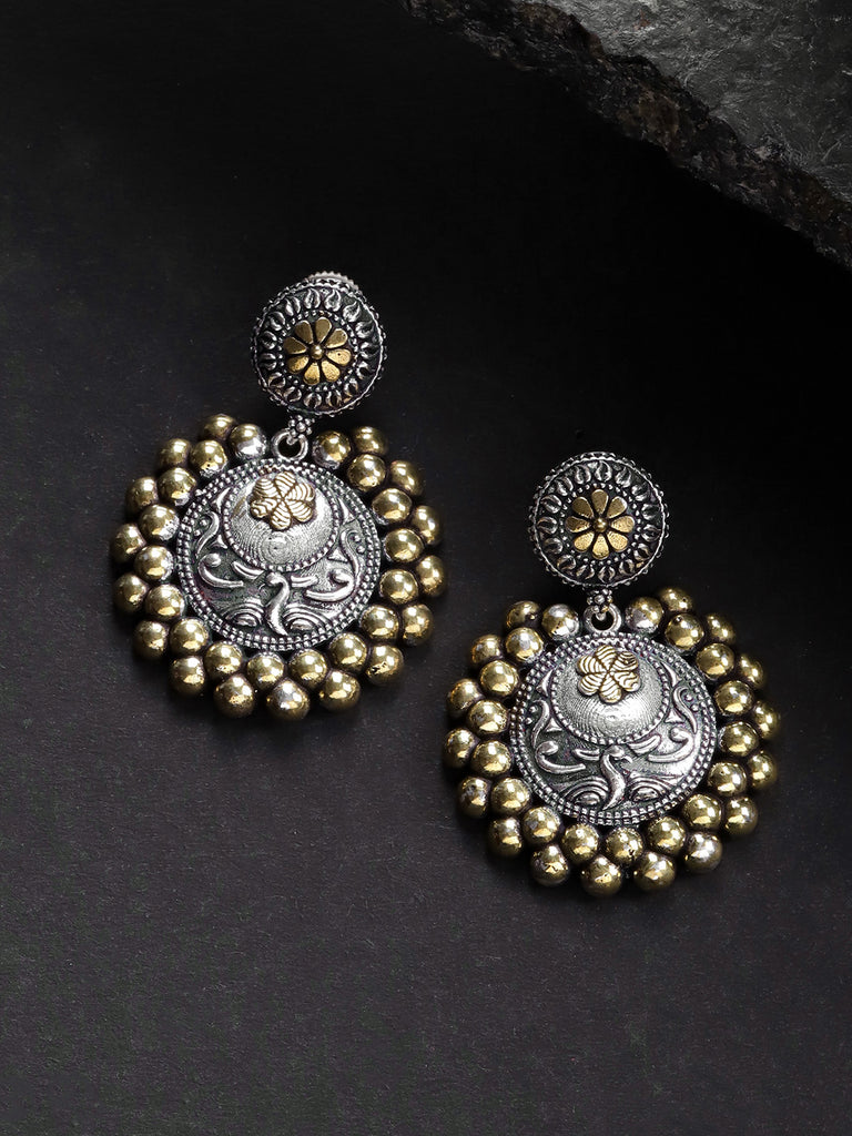 Infuzze Oxidised & Gold-Toned  Textured Circular Drop Earrings