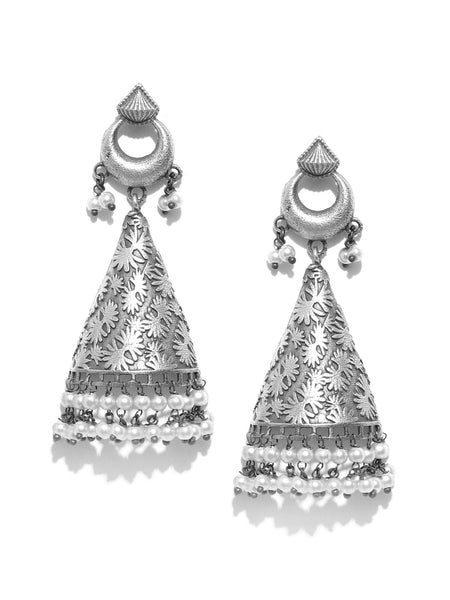Infuzze Oxidised  Beaded Textured Triangular Drop Earrings