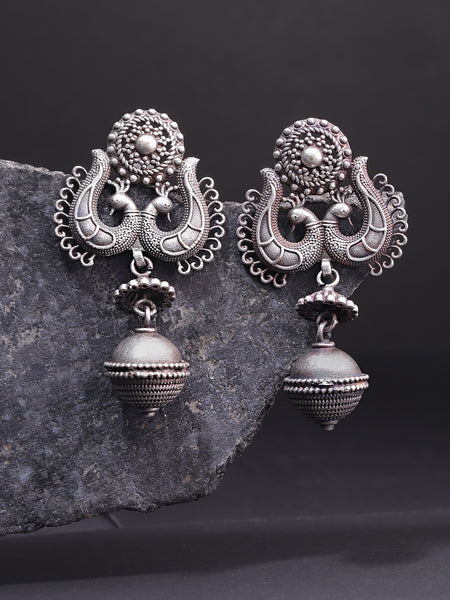 Infuzze Oxidised  Peacock-Shaped Drop Earrings