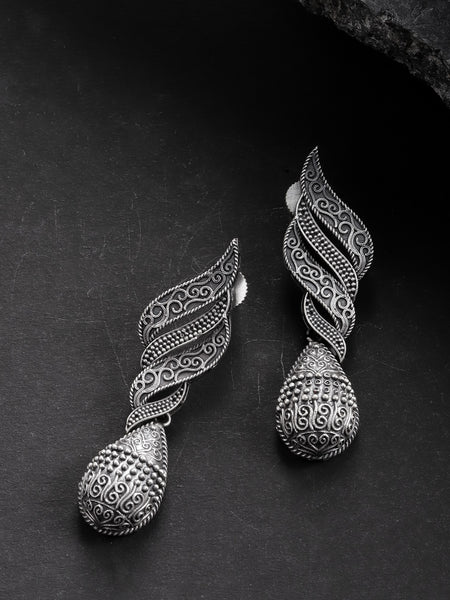 Infuzze Oxidised  Textured Teardrop Shaped Drop Earrings