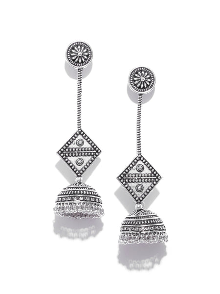 Infuzze Oxidised  Dome-Shaped Jhumkas