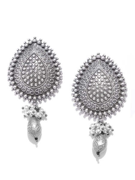 Infuzze Oxidised  Textured Beaded Leaf-Shaped Drop Earrings