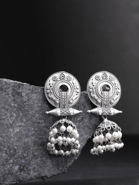 Infuzze Oxidised  Textured & Beaded Dome Shaped Jhumkas