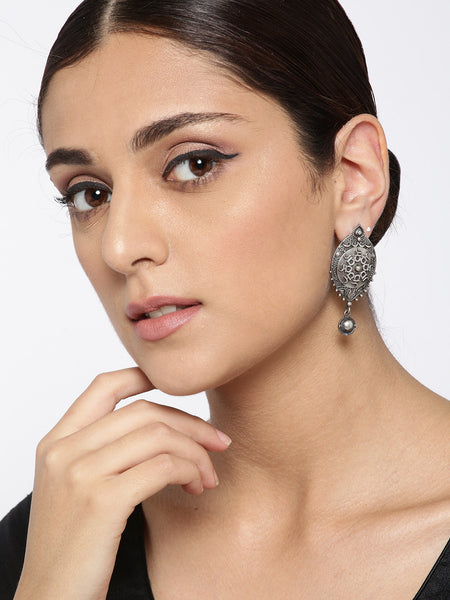 Infuzze Oxidised  Textured Classic Drop Earrings