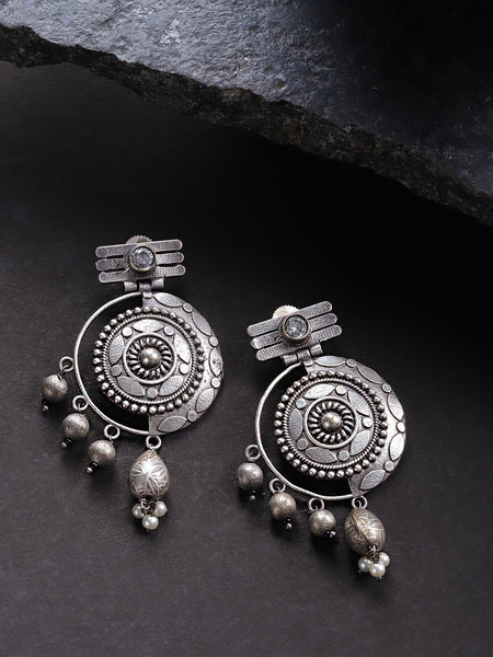 Infuzze Oxidised  Textured Circular Drop Earrings