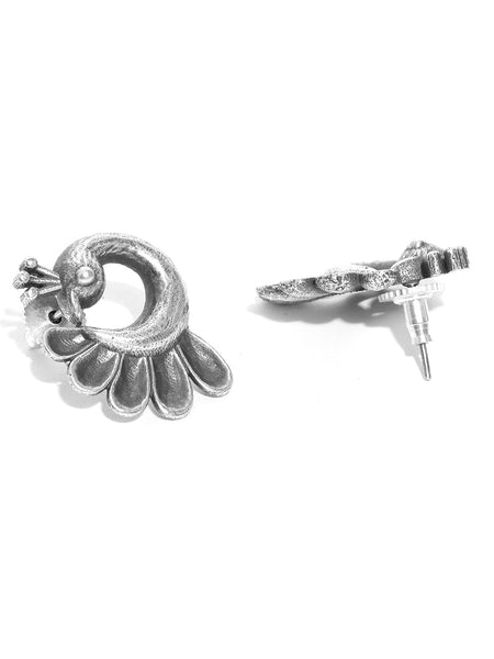 Infuzze Oxidised  Peacock Shaped Studs