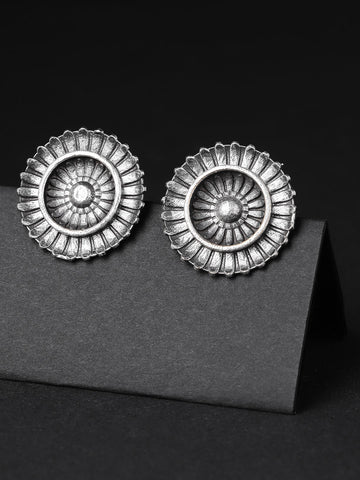 Infuzze Oxidised Brass Plated Textured Circular Studs