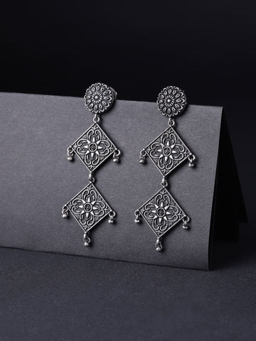 Infuzze Oxidised  Textured Beaded Geometric Drop Earrings