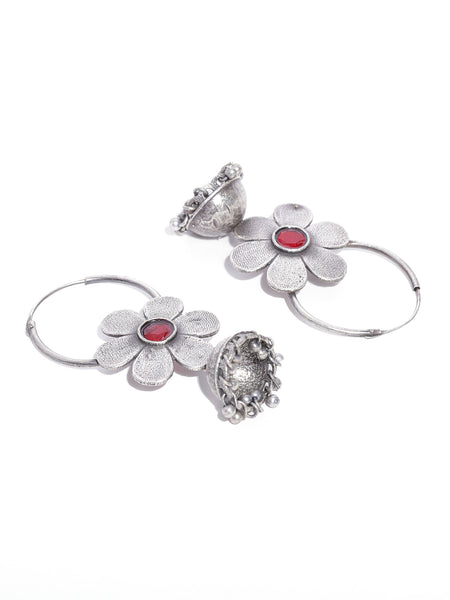 Infuzze Oxidised & Red  Floral & Dome Shaped Jhumkas
